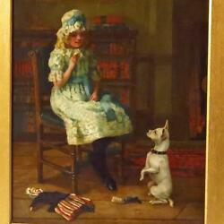 Antique Oil Painting Young Girl and Terrier Signed