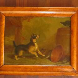 Martin Theodore Ward Cat Hissing at Terrier 19th Century Oil on Canvas