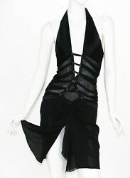 Tom Ford For Ss 2003 Collection Deep Plunging Halter Mini Cut Out Dress 44