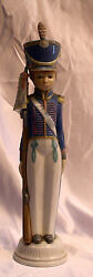 Magnificent Lladro Hand Painted On Porcelain Soldier With Flag, W/box
