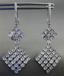 Large 1.08ct Diamond 14kt White Gold Flexible Square Leverback Hanging Earrings