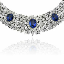 Gia 82.75ct Diamond And Aaa Ceylon Sapphire 18kt White Gold Flower Tennis Necklace