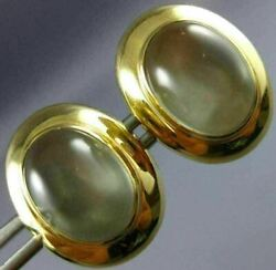 Estate Large Aaa Moon Stone 18kt Yellow Gold 3d Classic Oval Cuff Links