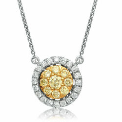 Estate .69ct White And Fancy Yellow Diamond 14k 2 Tone Gold Round Cluster Necklace