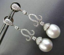 Large 1.04ct Diamond And Aaa South Sea Pearl 18kt White Gold 3d Hanging Earrings
