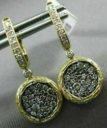 Estate Large .46ct White And Chocolate Fancy Diamond 14kt Yellow Gold 3d Earrings