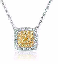 Estate .58ct White And Fancy Yellow Diamond 18kt Two Tone Gold 3d Square Necklace