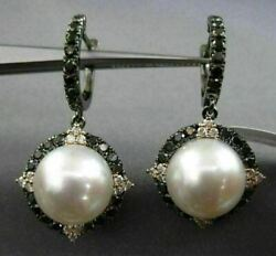 Large 1.40ct Black And Pink Diamond And Aaa South Sea Pearl 18k Black Gold Earrings