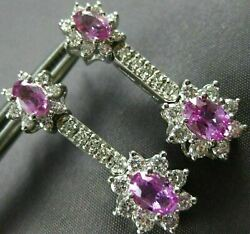 Antique Long 2.96ct Diamond And Pink Sapphire 14k White Gold Hanging Earrings 3010