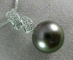Estate Large .16ct Diamond And Aaa Tahitian Pearl 18kt White Gold 3d Pendant 20295