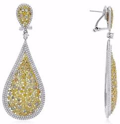 LARGE 8.55CT MULTI COLOR DIAMOND 18KT TWO TONE GOLD TEAR DROP HANGING EARRINGS