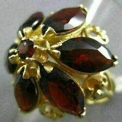 Antique Extra Large 6.80ct Aaa Garnet 14kt Yellow Gold 3d Filigree Flower Ring