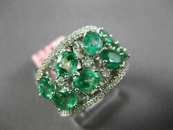 Estate Large 2.51ct Diamond And Aaa Emerald 18kt White Gold 3d Anniversary Ring