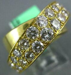 EXTRA LARGE 3.50CT DIAMOND 18KT YELLOW GOLD CRISS CROSS SOLID ANNIVERSARY RING