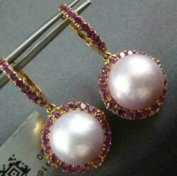 Large 1.60ct Aaa Pink Amethyst And South Sea Pearl 18kt Rose Gold Hanging Earrings