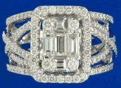 Estate 1.50ct Diamond 18k White Gold Round And Baguette Cluster Halo Infinity Ring