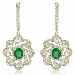 Estate 1.70ct Diamond And Aaa Emerald 14kt Yellow Gold 3d Flower Hanging Earrings