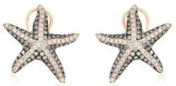 1.20ct White And Mocha Diamond 14kt Rose Gold Multi Row Starfish Clip On Earrings