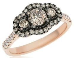 1ct White And Chocolate Fancy Diamond 14kt Rose Gold 3 Stone Halo Anniversary Ring