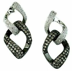 1.17ct White And Chocolate Fancy Diamond 14kt White Gold 3d Double Link Earrings