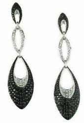 2.0ct White And Black Diamond 14k White Gold 3d Tear Drop Journey Hanging Earrings