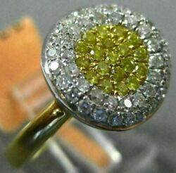Estate .58ct White And Fancy Yellow Diamond 18k 2 Tone Gold 3d Cluster Flower Ring