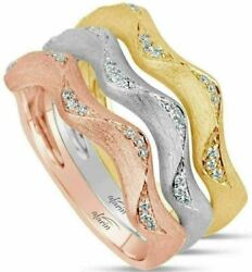 Estate Wide .05ct Diamond 18kt Tri Color Gold 3d Bamboo Swirl Stackable Fun Ring