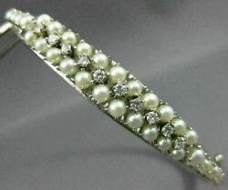Wide .20ct Diamond And Aaa South Sea Pearl 14kt White Gold Bangle Bracelet 26595
