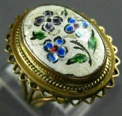 Antique Large Aaa Multi Color Enamel 14kt Yellow Gold 3d Handcrafted Flower Ring