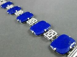 Estate Large And Wide 36.20ct Diamond And Lapis 14kt White Gold Filigree Bracelet