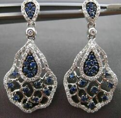 ANTIQUE 1.34CT DIAMOND & SAPPHIRE 14KT WHITE GOLD 3D SPIDER WEB HANGING EARRINGS