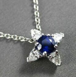 Antique Platinum 1.14ct Diamond And Aaa Sapphire 3d Star Flower Floating Pendant