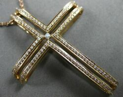 Estate Large .37ct Diamond 18kt Rose Gold Pave Solitaire Floating Cross Pendant