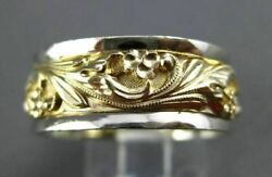 Antique Wide 14kt 2tone Gold Filigree Floral Wedding Anniversary Ring 4mm 23568