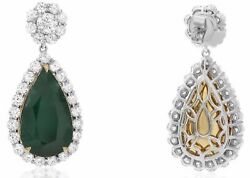 LARGE 21.6CT DIAMOND & AAA EMERALD 18KT TWO TONE GOLD TEAR DROP HANGING EARRINGS