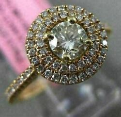 Estate .71ct White And Fancy Yellow Diamond 18kt Yellow Gold Halo Engagement Ring