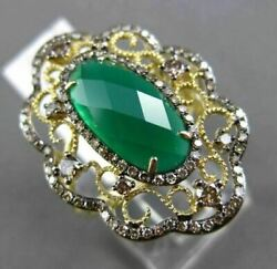 Antique Large 3.19ct Diamond And Green Agate 14k White And Black Gold Filigreee Ring