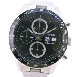 Tag Heuer Cv2010-0 Back Schedule Carrera Watches Stainless Steel Mens Blac...