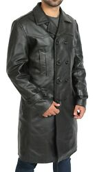 Mens Black Double Breasted Trench Leather Pea Coat 3/4 Long Classic Overcoat New
