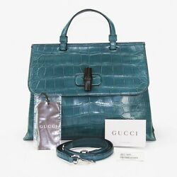 New $24.000 Gucci Crocodile Dusty Turquoise Top Handle Shoulder Strap Medium Bag
