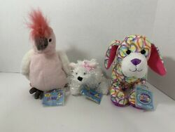Webkinz plush lot NWT codes Lil' Kinz white terrier pink cockatoo scribbles pup