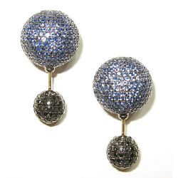 925 Silver 14k Gold 10.19ct Pave Sapphire Double Sided Stud Earrings Jewelry