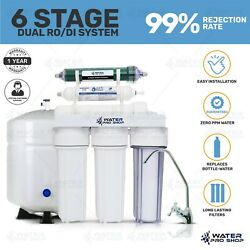 6 Stage Home Drinking And Aquarium Reef Ro/di System - Tank And Faucet Under Sink