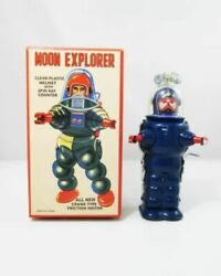 Moon Explorer Blue Wind Up Tin Toy Robot Retro Tin Tom Toy From Japan F/s