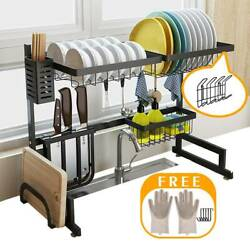 Over Sink Dish Drying Rack Drainer Shelf Stainless Steel Kitchen Cutlery Holder