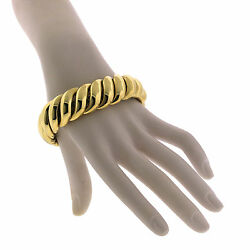 David Yurman 18K Yellow Gold Wide Hampton Sculpted Cable Chain Cuff Bracelet