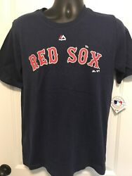 Boston Red Sox MLB Baseball T Shirt Youth Sizes Majestic Navy Red New XL Large