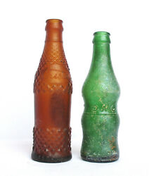 Rare Production Vtg Israel - Empty Glass Drinking Bottles Tempo And Cristal