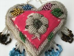 Antique Native Beaded Whimsey Heart Pincushion