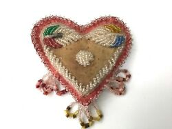 Antique Native Am. Beaded Whimsey Heart Pincushion